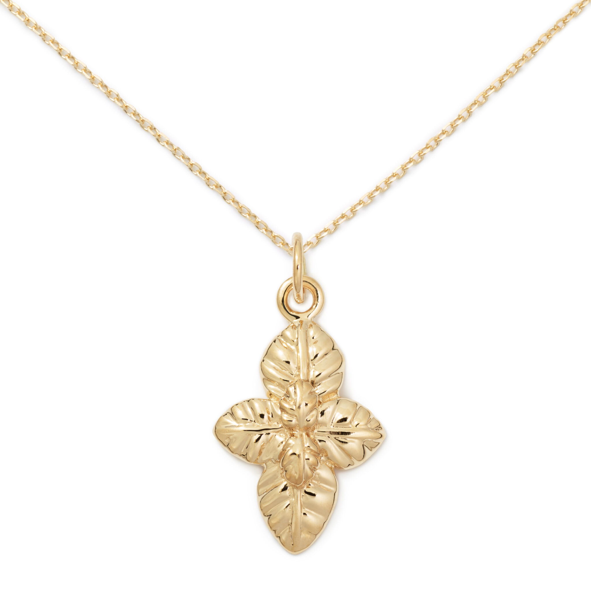 Basil Pendant, 14K Yellow Gold