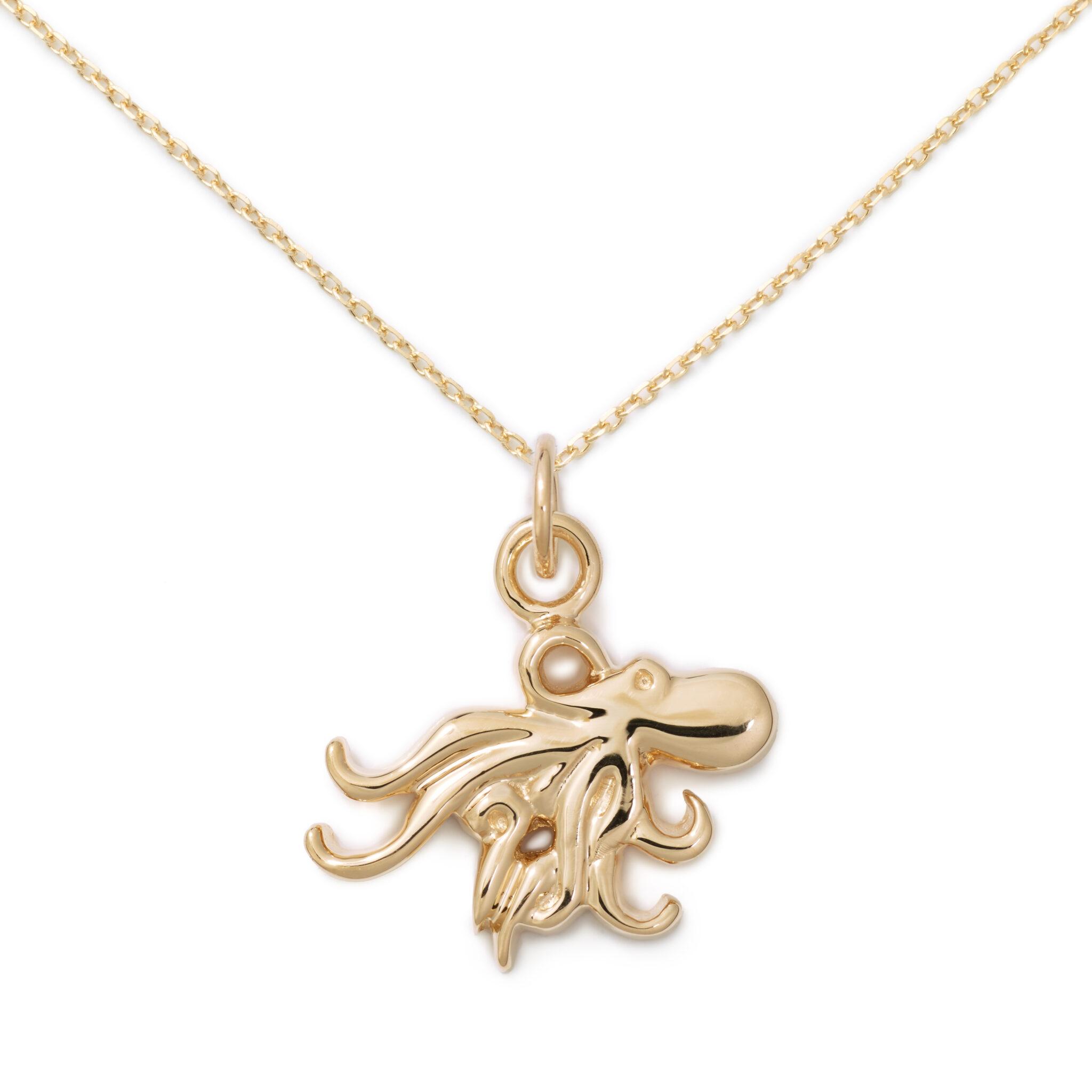 Octopus Pendant, 14K Yellow Gold