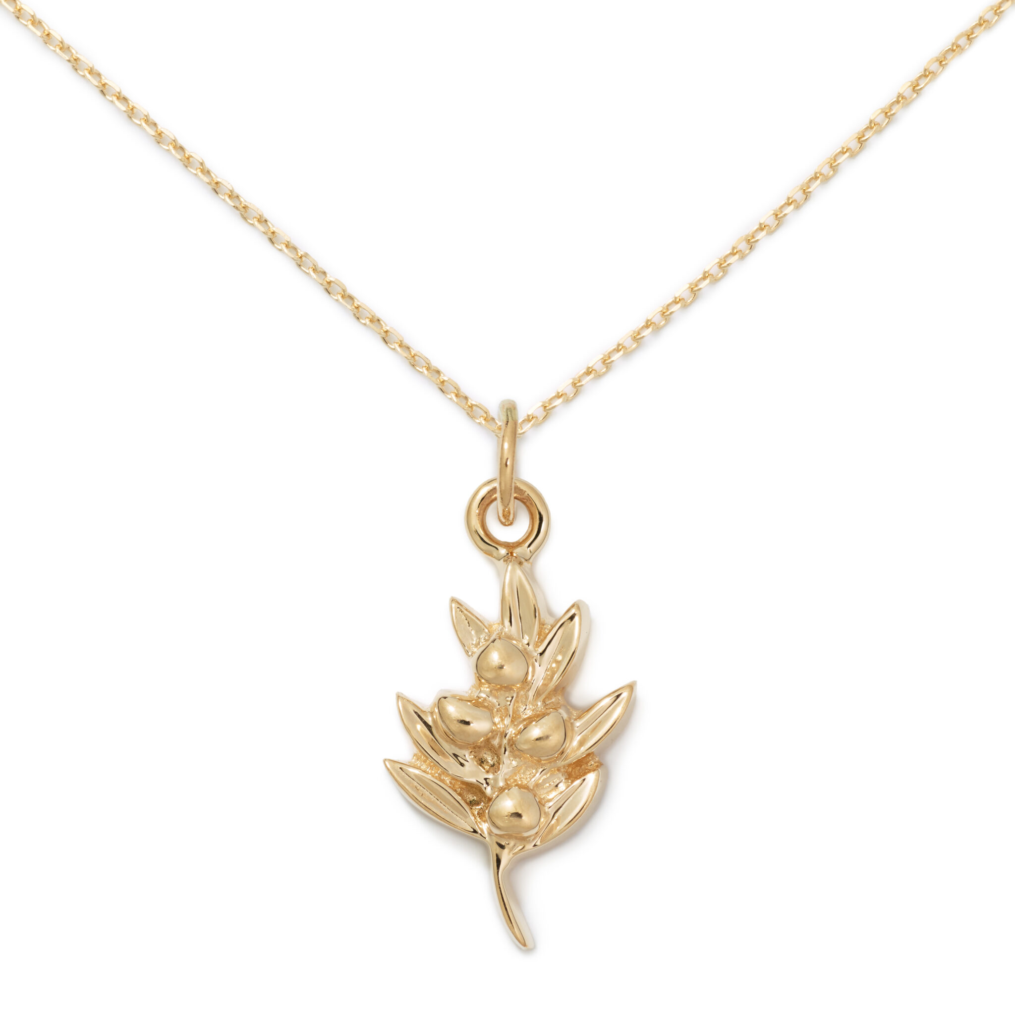 Olive Pendant, 14K Yellow Gold