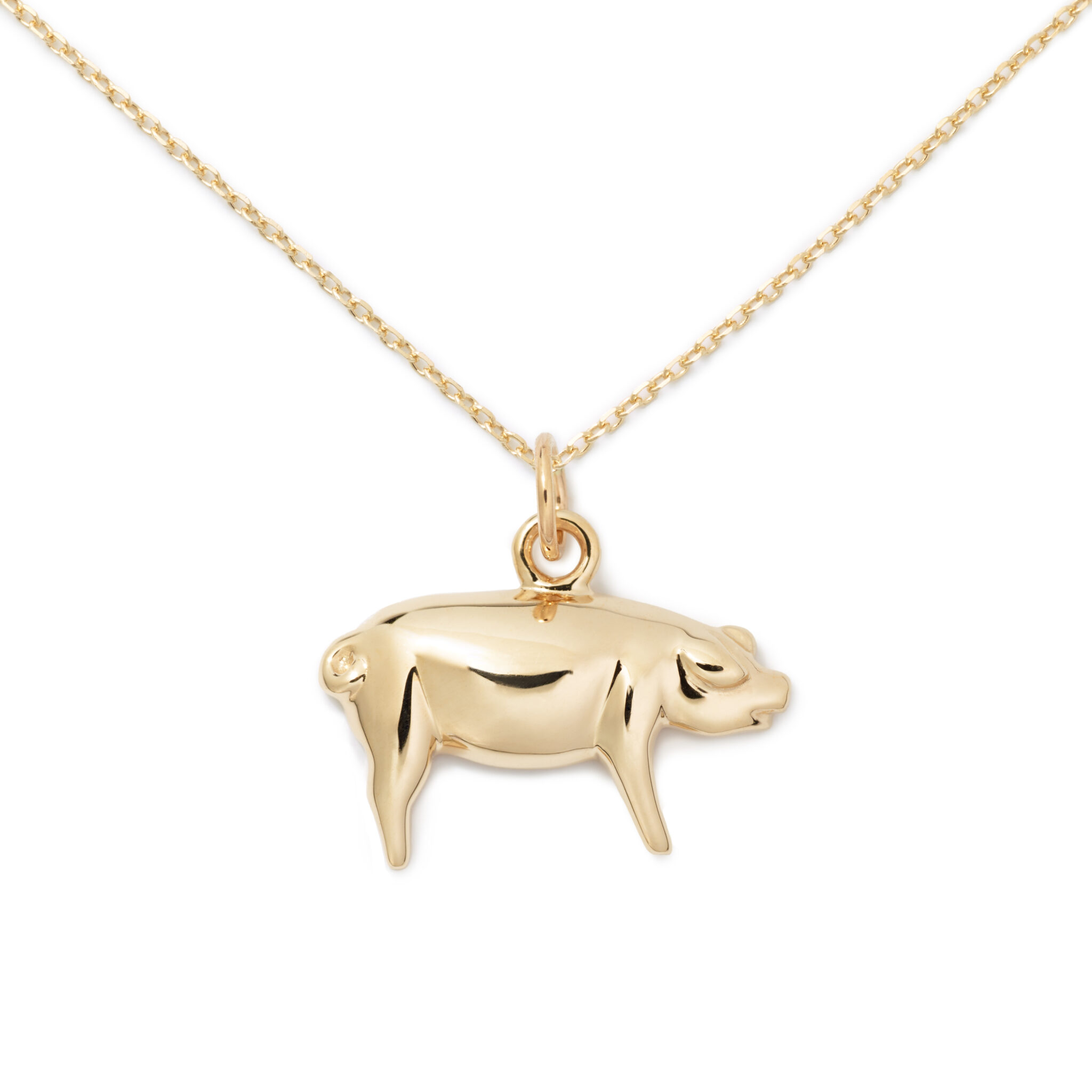 Pig Pendant, 14K Yellow Gold
