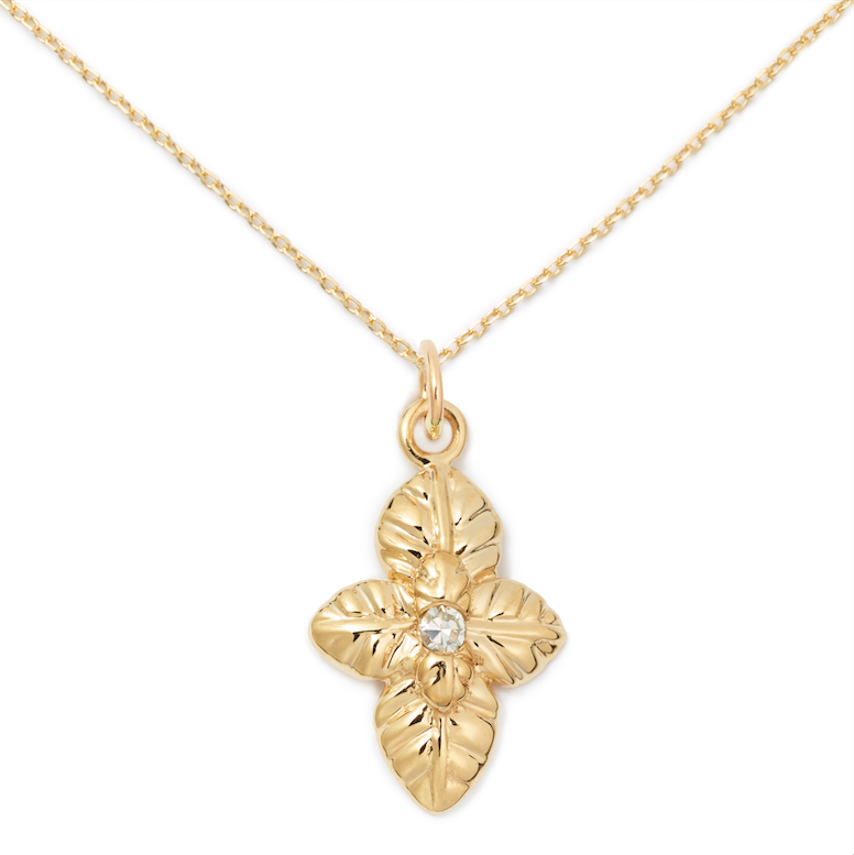 Basil Pendant, 14K Yellow Gold + Diamond