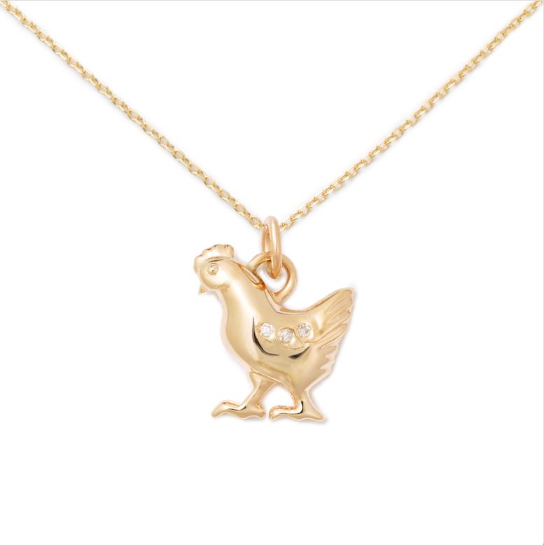 Chicken Pendant, 14K Yellow Gold + Diamond
