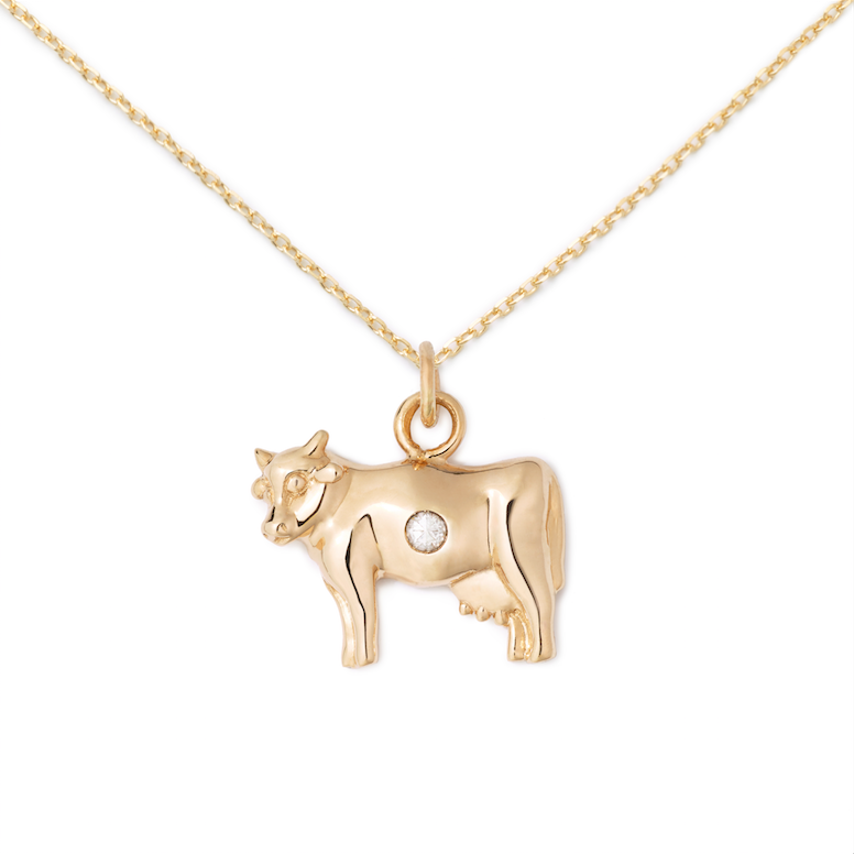 Cow Pendant, 14K Yellow Gold + Diamond