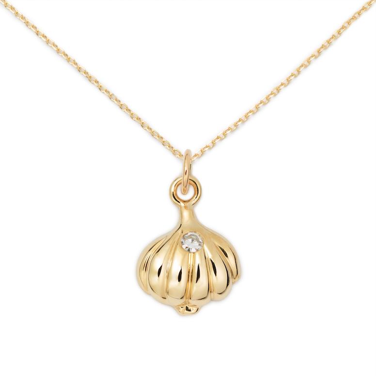 Garlic Pendant, 14K Yellow Gold + Diamond