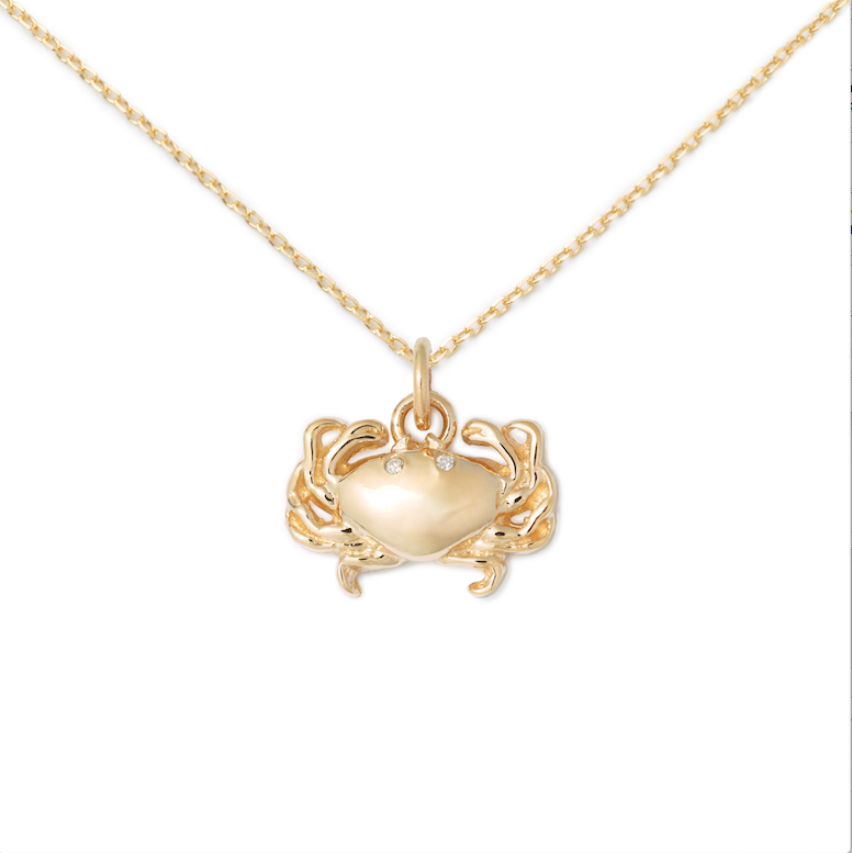 14K Yellow Gold + Diamond Crab Pendant