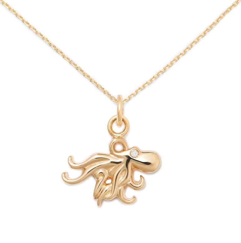 Octopus Pendant, 14K Yellow Gold + Diamond