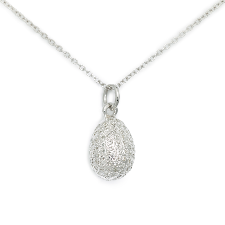 Egg Pendant (3D), 14K White Gold & Pave Diamond