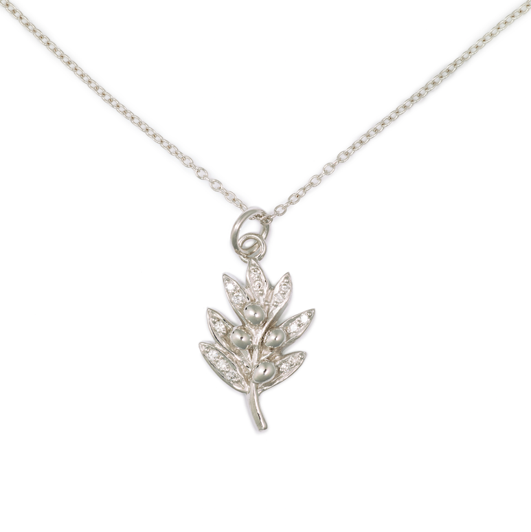 Olive Pendant, 14K White Gold & Pave Diamond