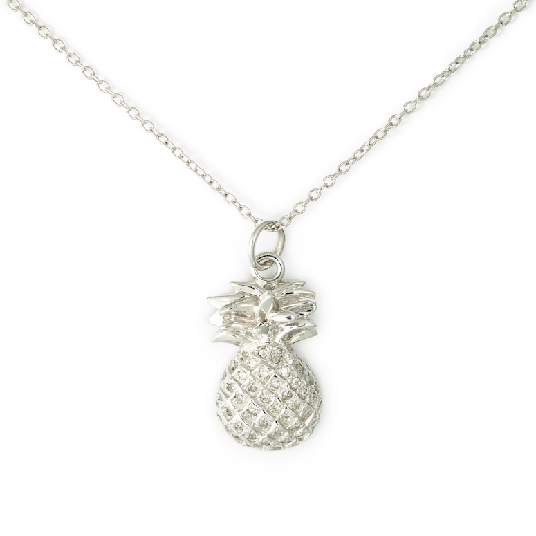 Pineapple Pendant, 14K White Gold & Pave Diamond