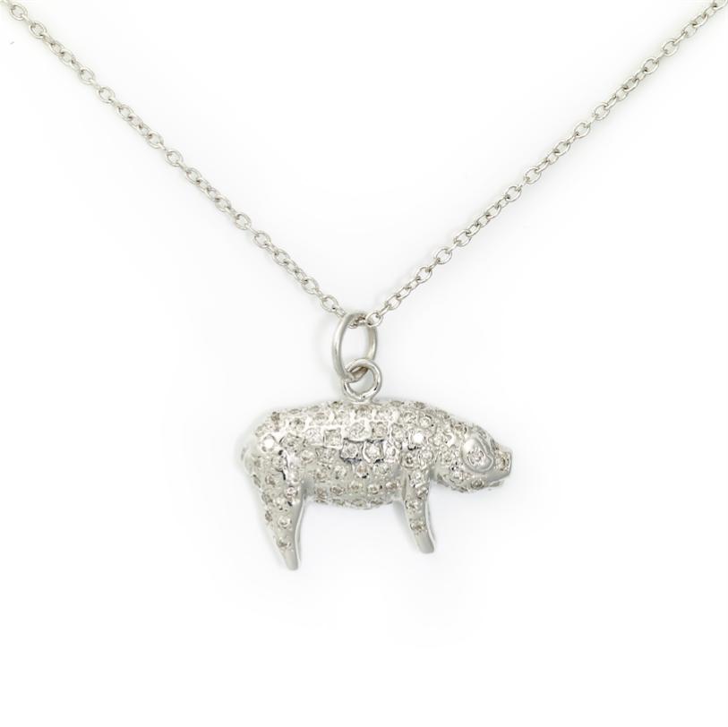 Pig Pendant,14K White Gold & Pave Diamond