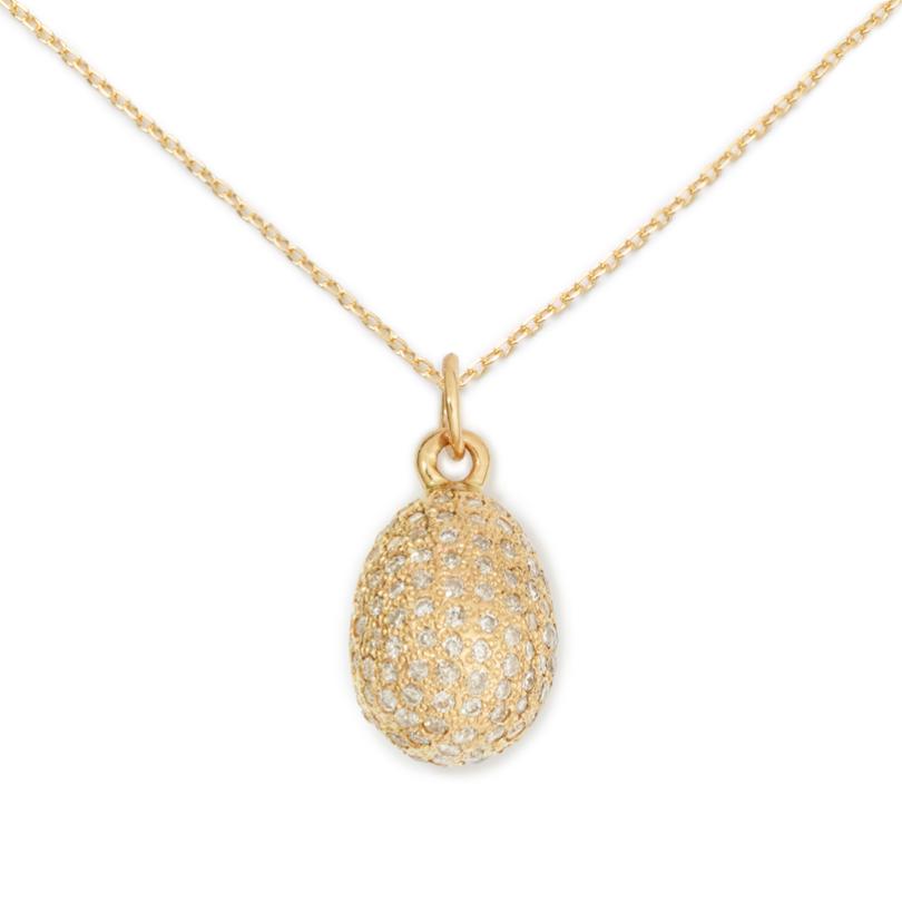 Egg Pendant (3D),14K Yellow Gold & Pave Diamond