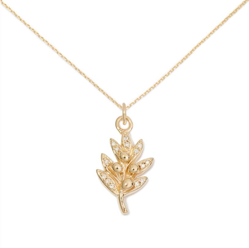 Olive Pendant, 14K Yellow Gold & Pave Diamond