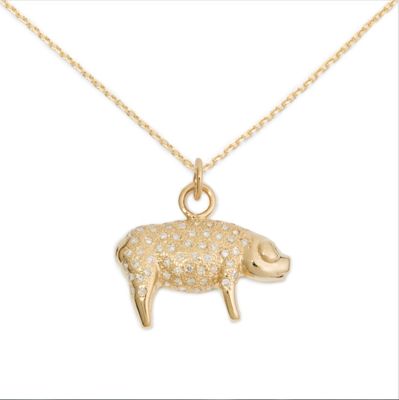 14K Yellow Gold Pave Pig Pendant