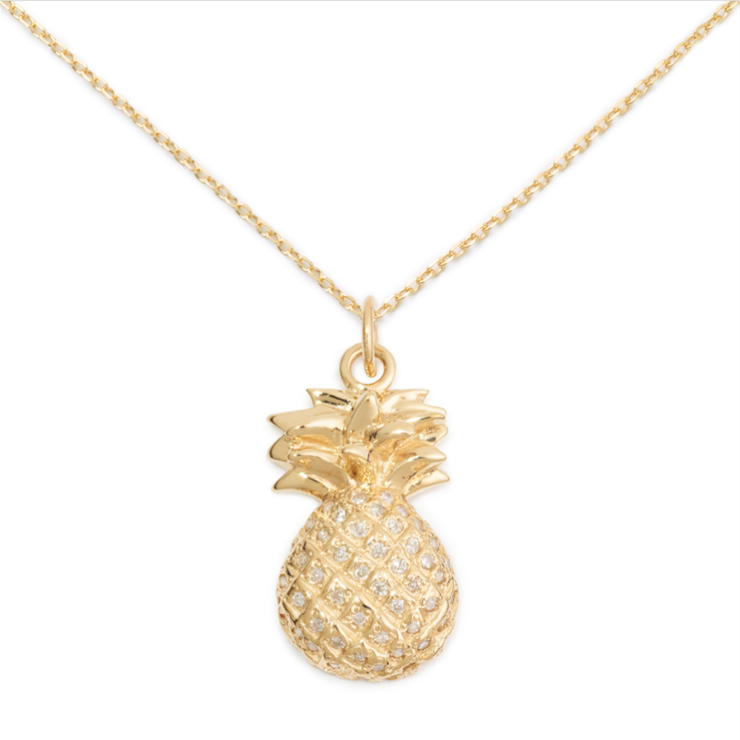 Pineapple Pendant, 14K Yellow Gold & Pave Diamond