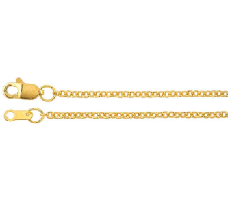 """14K yellow gold cable chain, adjustable lengths at 16"""" and 18"""""""