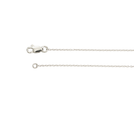14K white gold cable chain, Adjustable