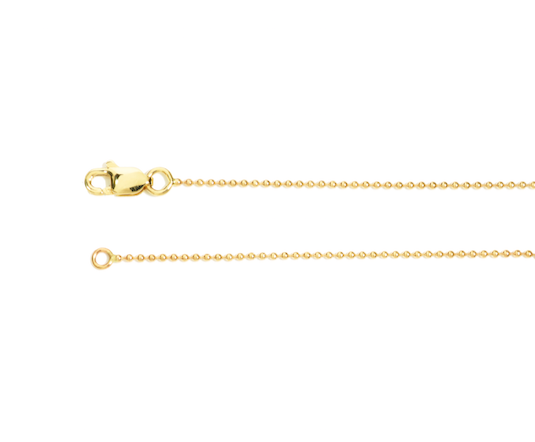 14K yellow gold ball chain, Adjustable