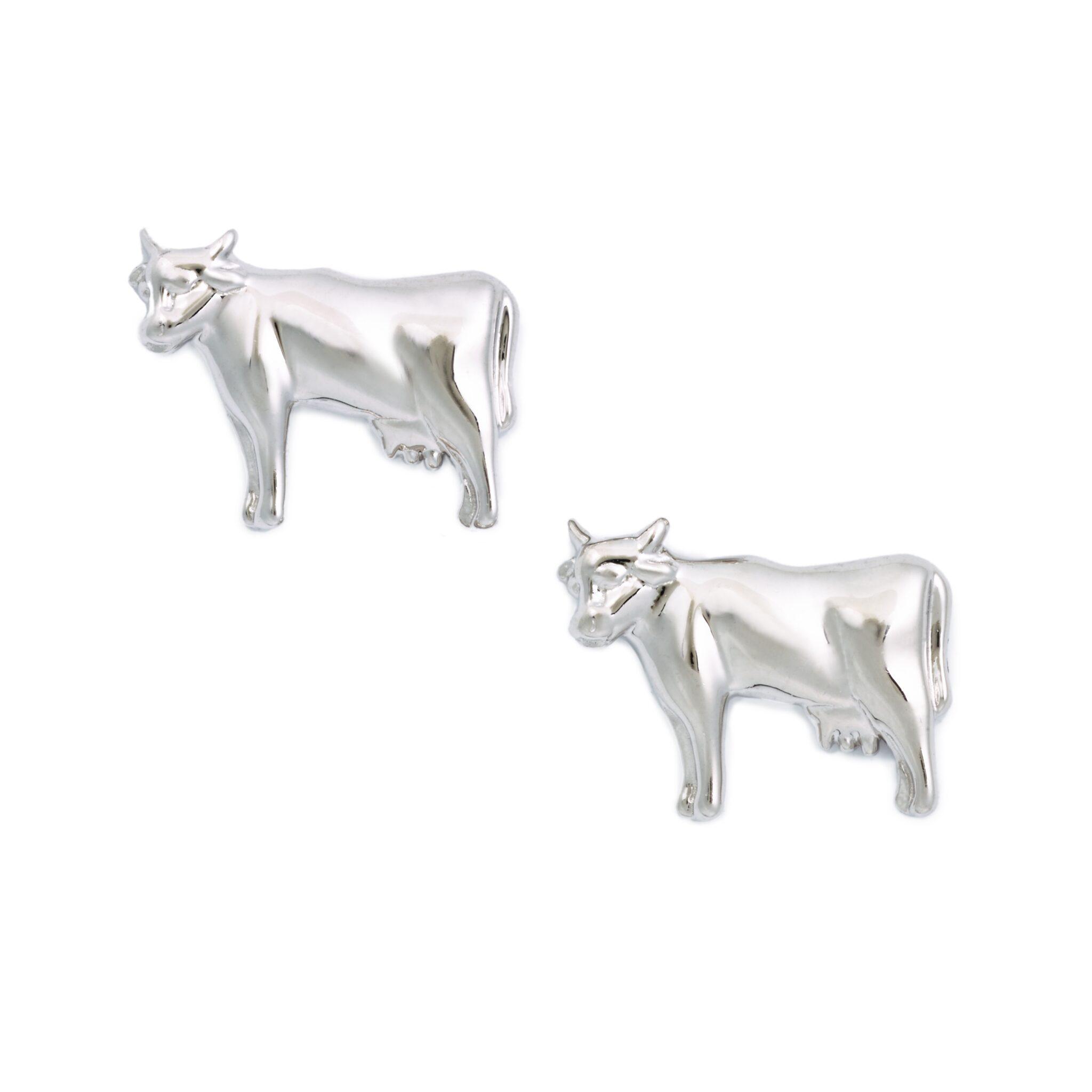 Cow Earrings, Sterling Silver