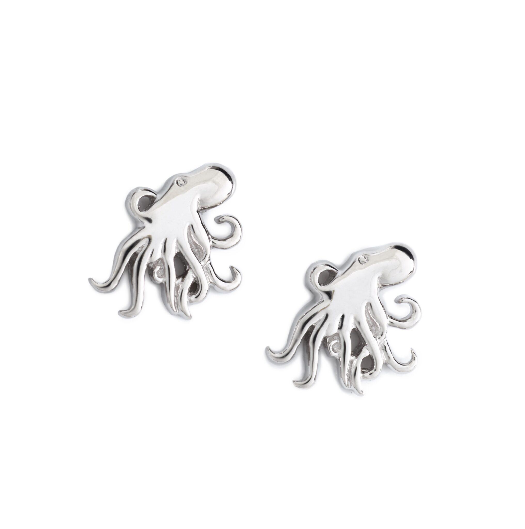 Octopus Earrings, Sterling Silver