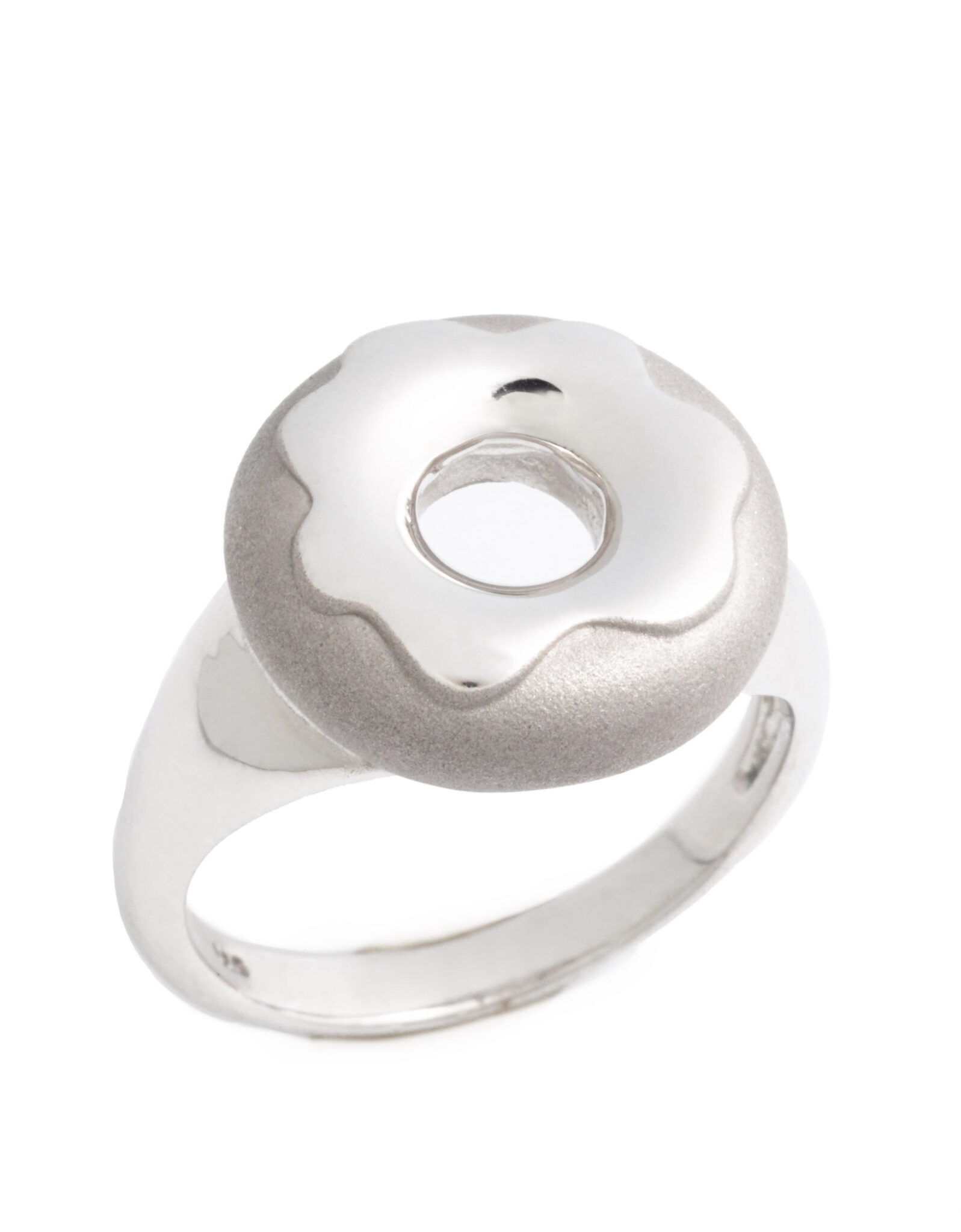 Glazed Doughnut Ring, Sterling Silver