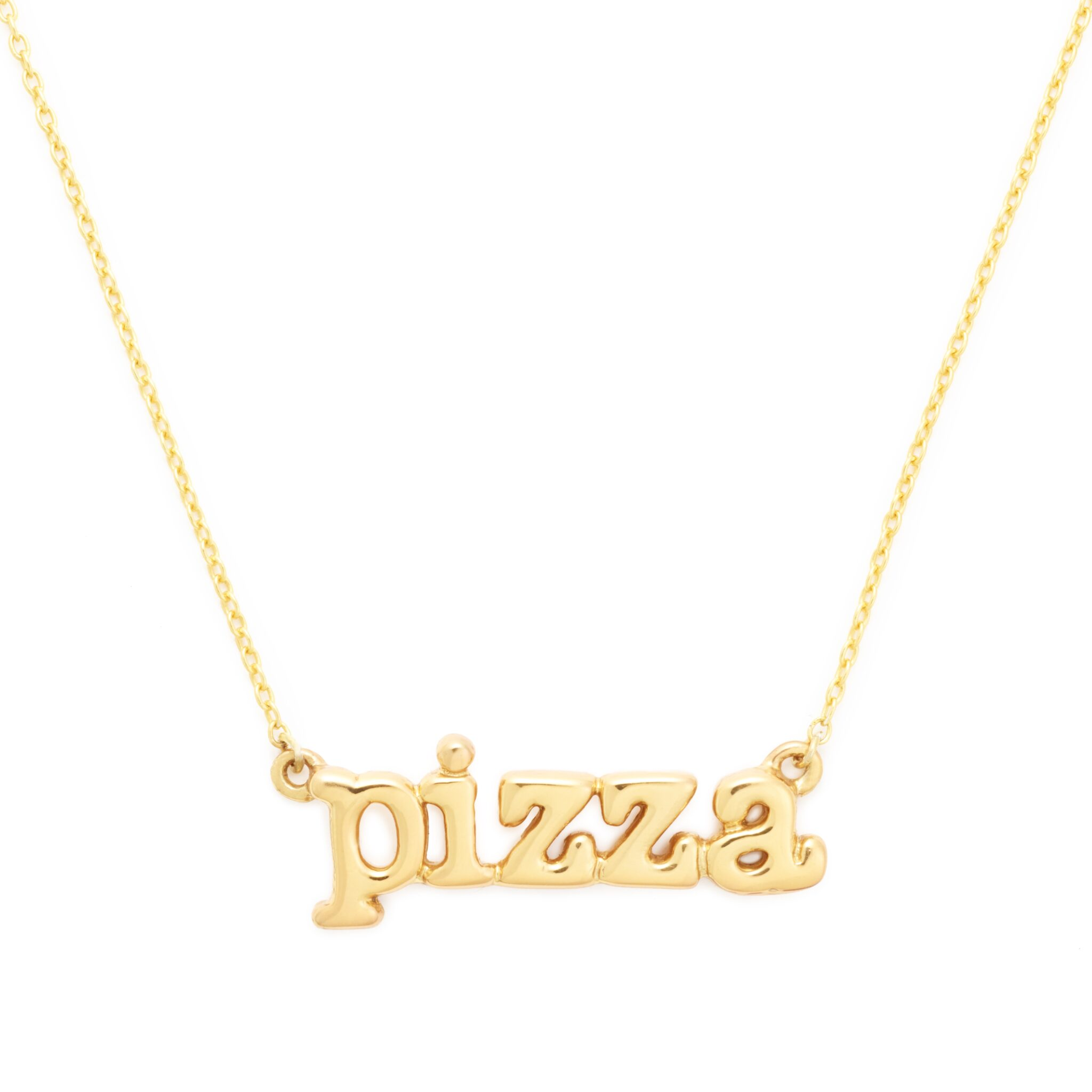 Pizza Necklace, Yellow Gold Plated