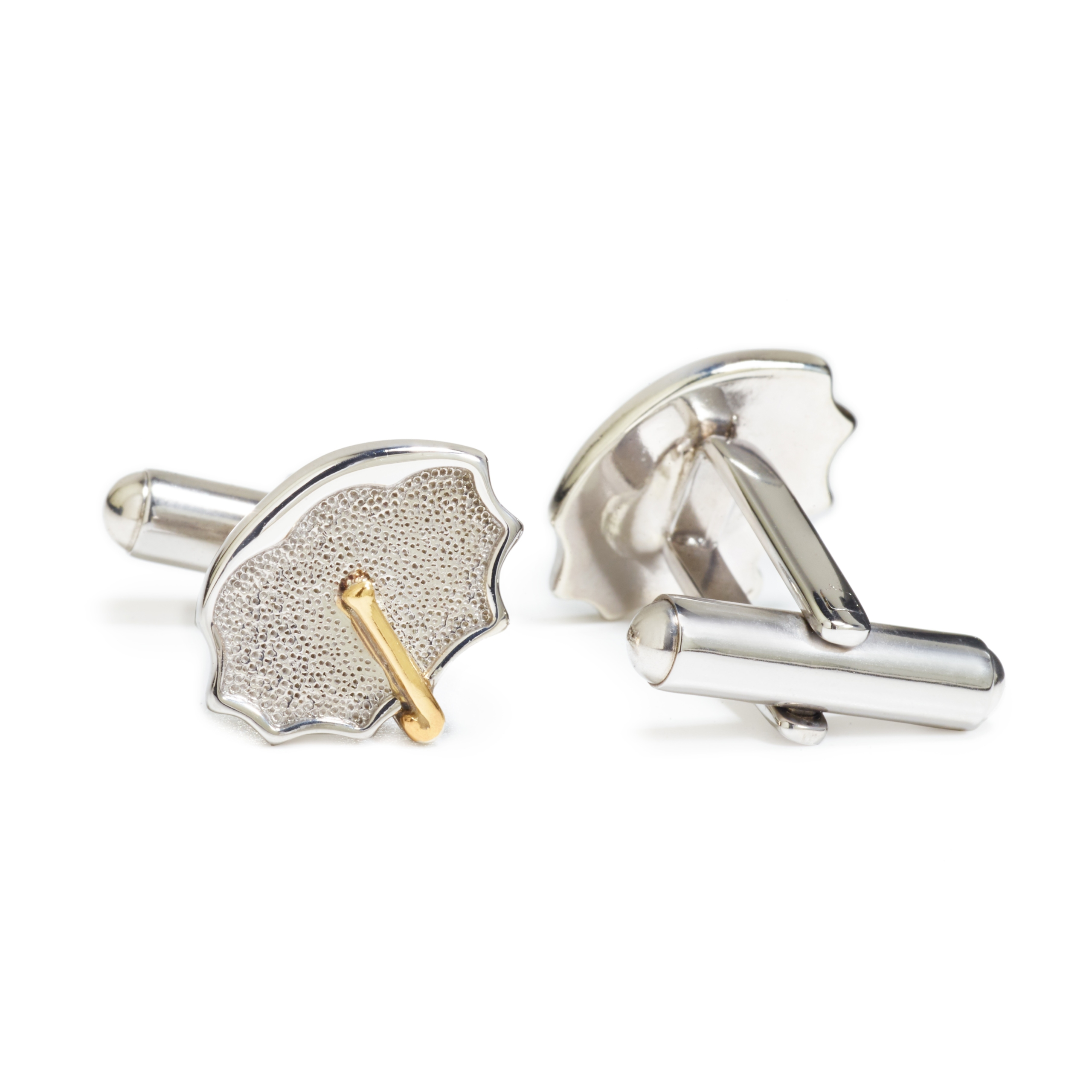 Sterling Silver with Yellow Gold Handle Umbrella Cuff Links (pair)