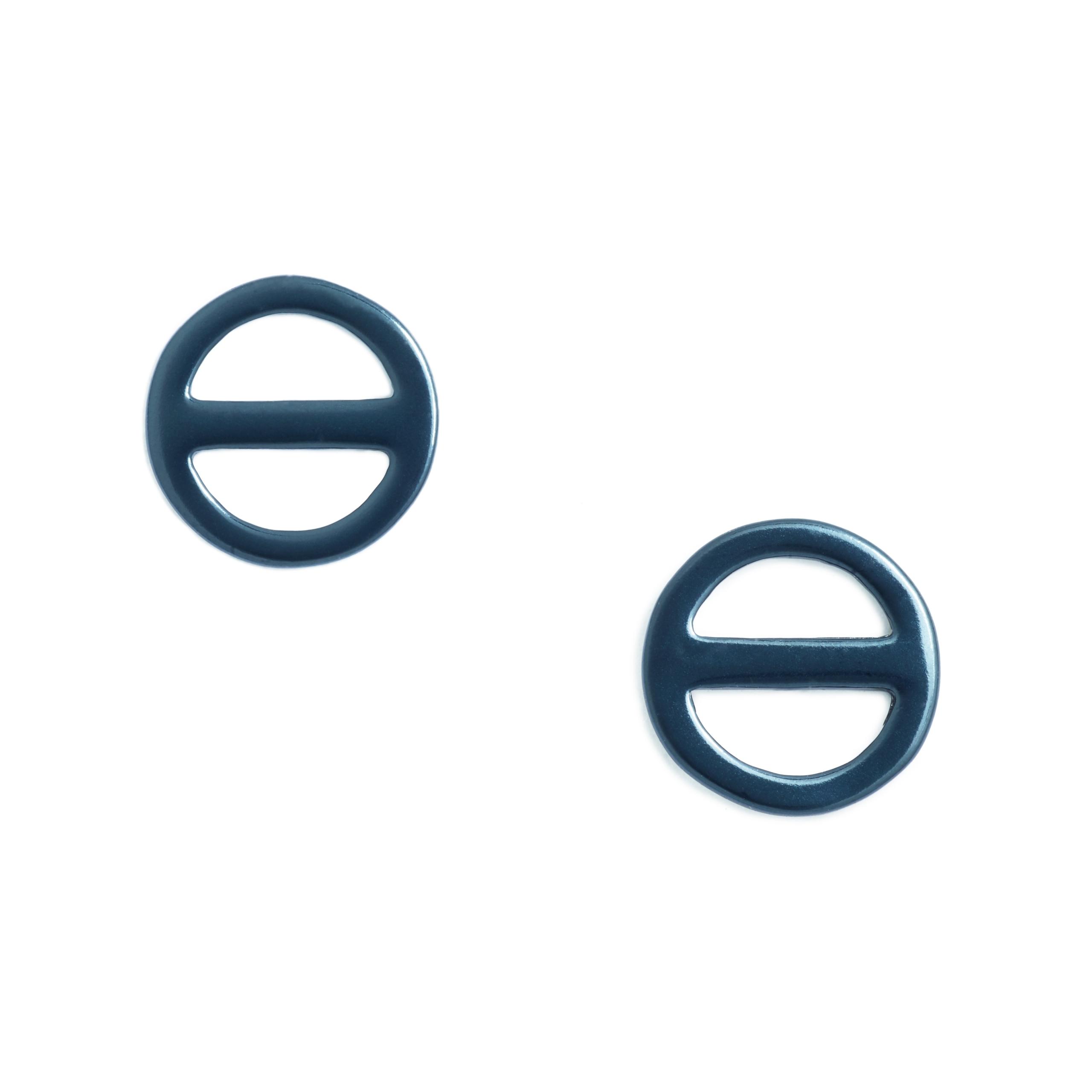 Salt Symbol Earrings, Blue Enamel Plated