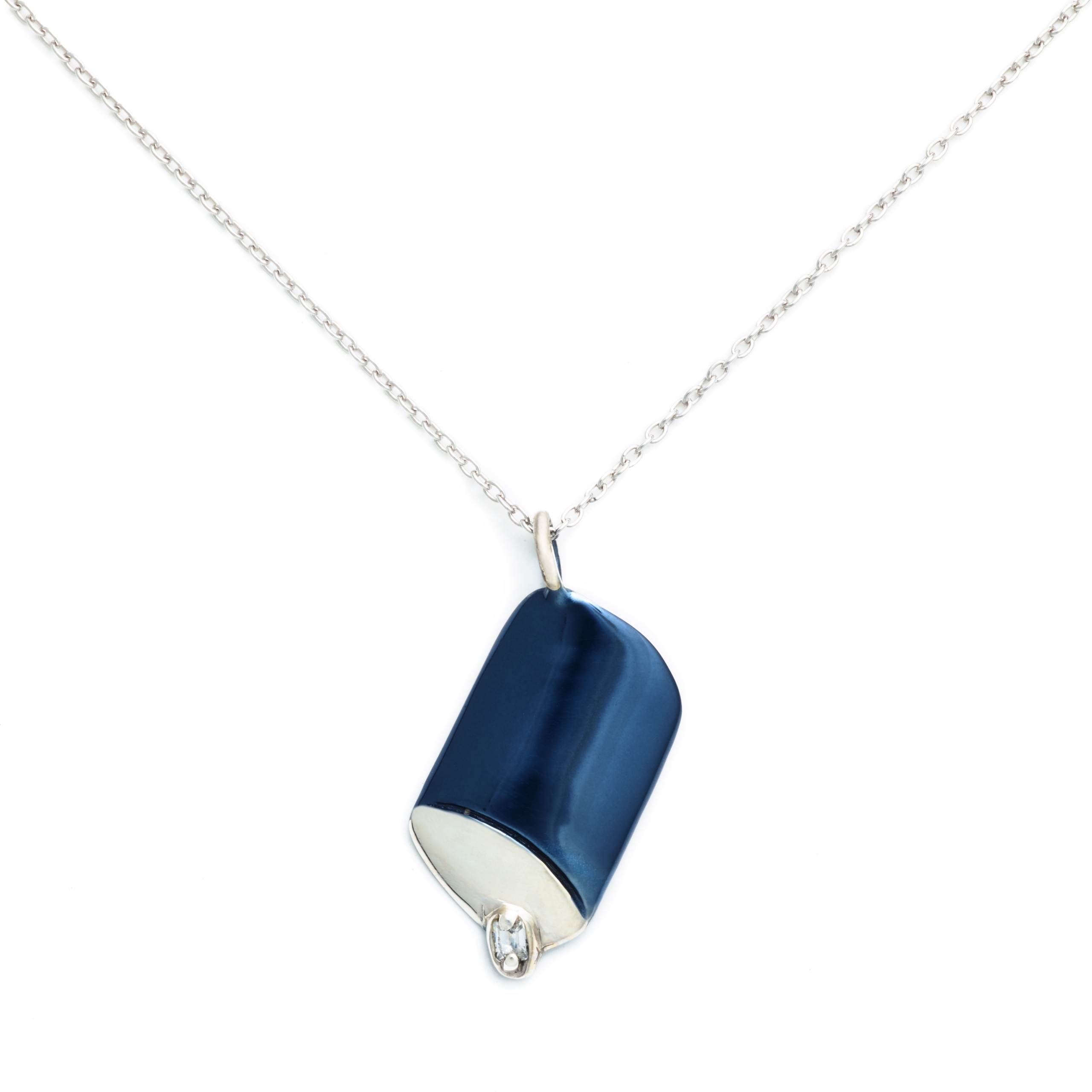 Salt Canister Necklace with Zirconia, Blue Enamel Plated