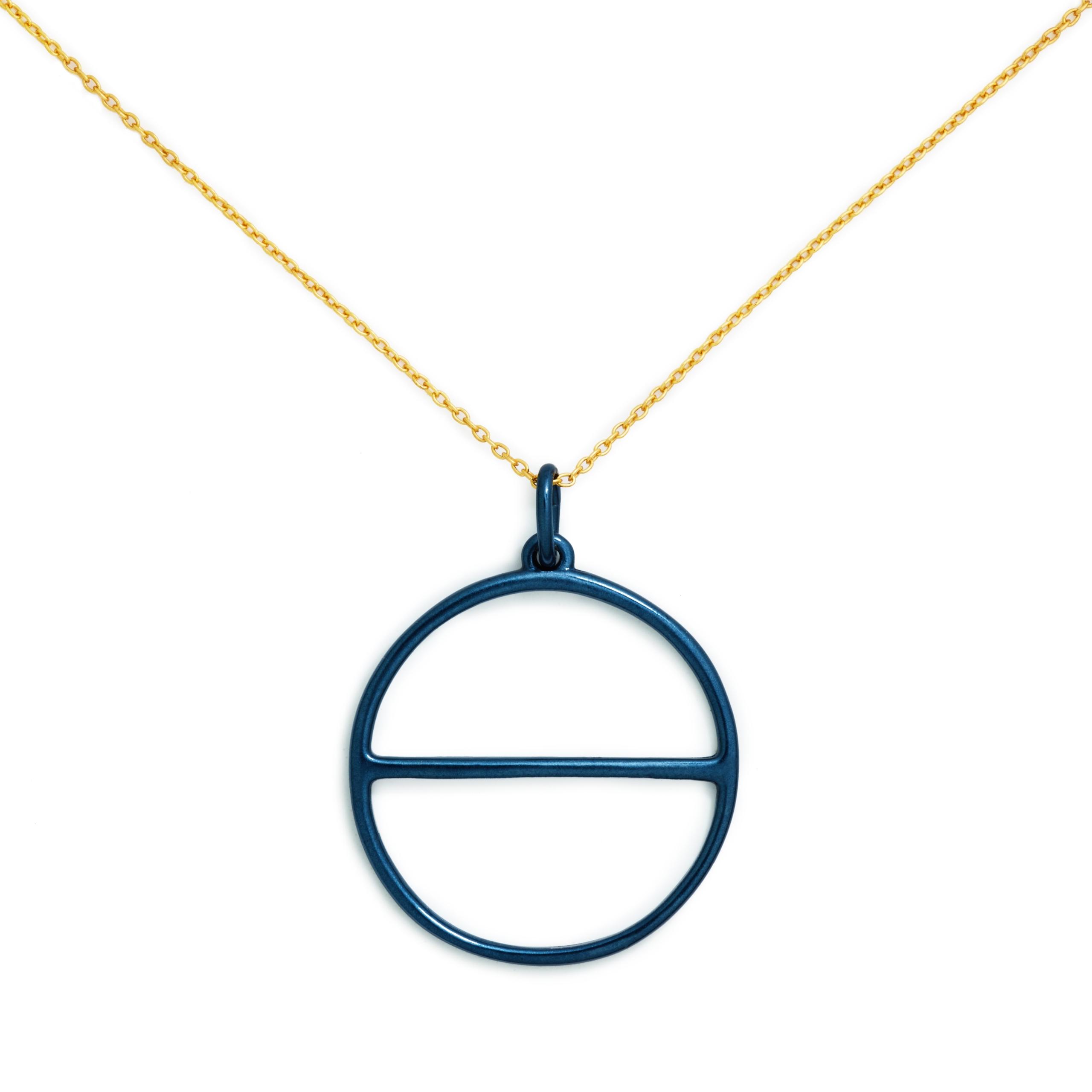 Salt Symbol Necklace (Large), Blue Enamel