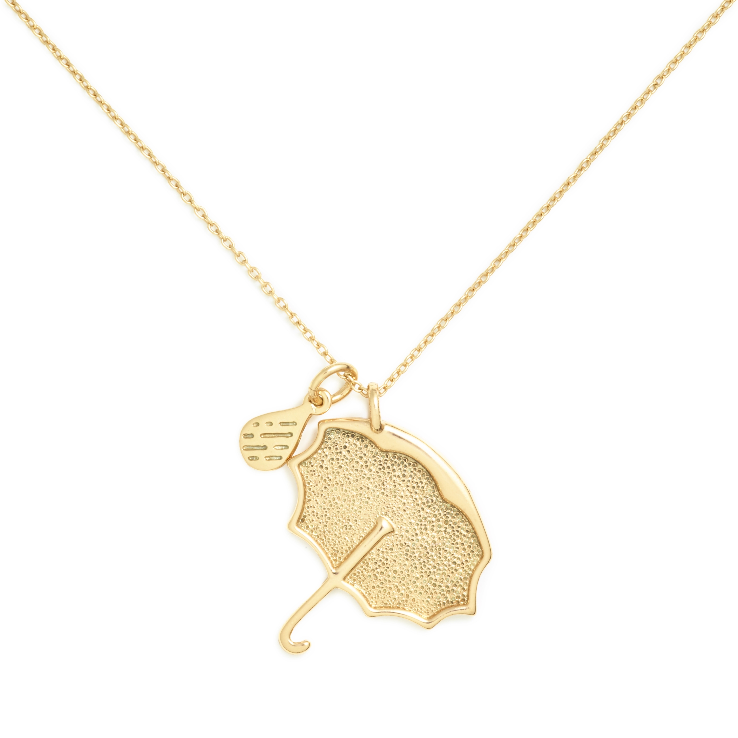 Umbrella Necklace, Yellow Gold Plated