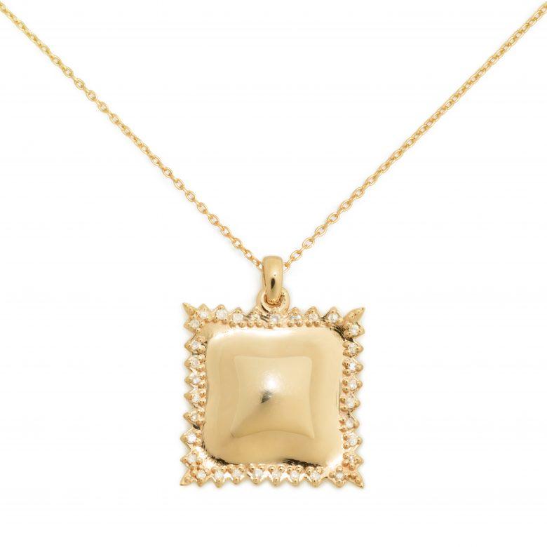Ravioli Necklace, 14K Gold and Diamond