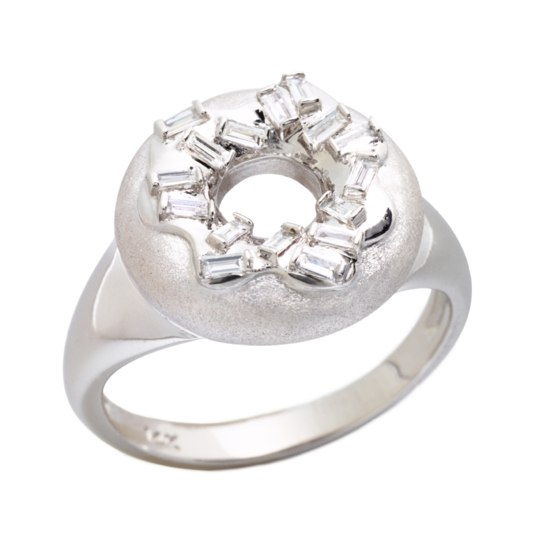 Sprinkle Doughnut Ring, 14K White Gold & Diamonds