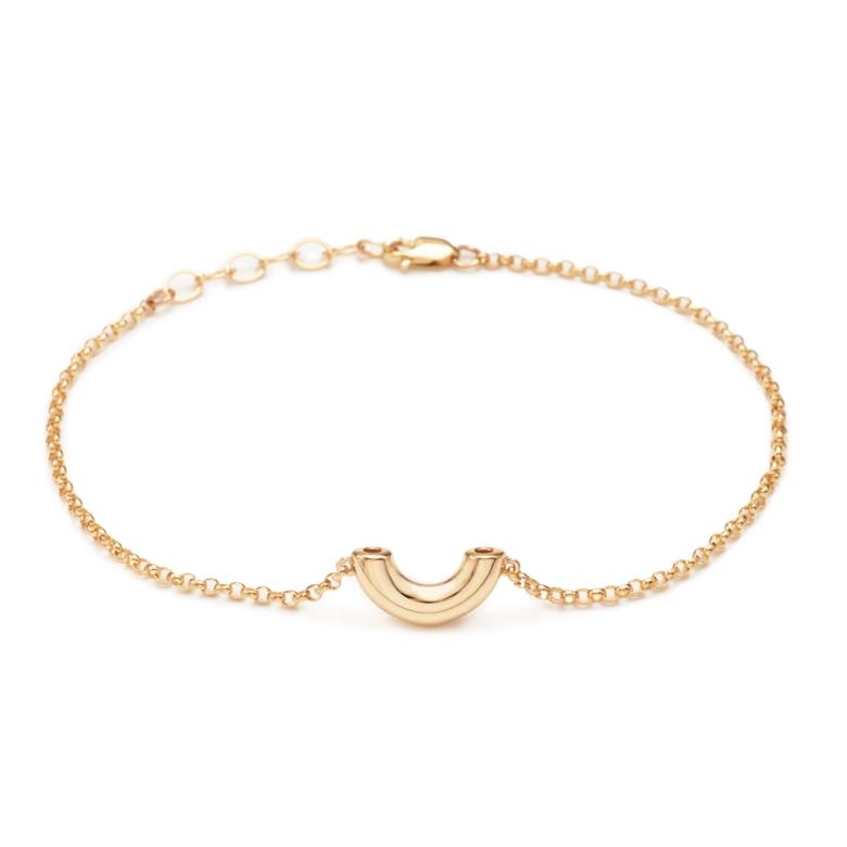 Elbow Macaroni Bracelet, Mini Size, Yellow Gold Plated