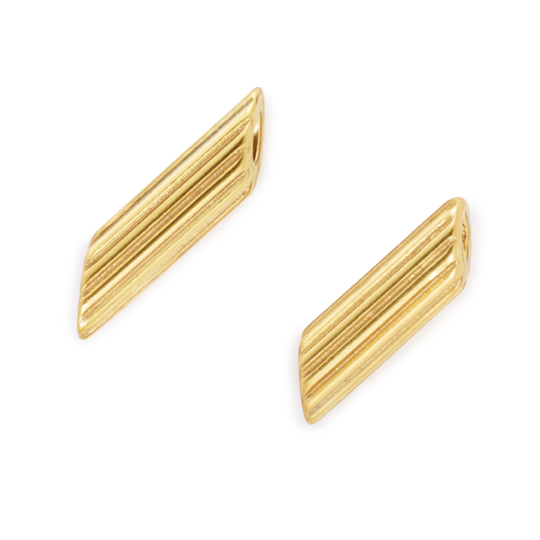 "Yellow Gold Plated ""Mini"" Penne Pasta Earrings"