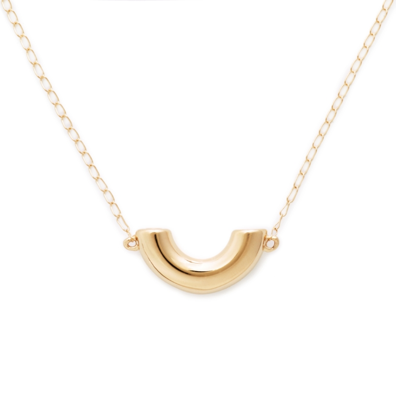 Elbow Macaroni Necklace, Mini Size, Yellow Gold Plated