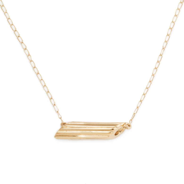 """Yellow Gold Plated """"Mini"""" Penne Necklace"""