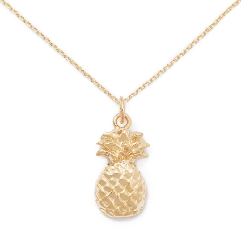 Pineapple Necklace, Yellow Gold Plated