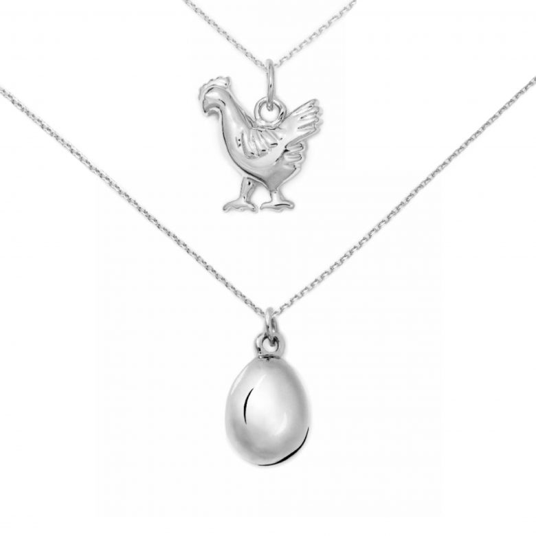 Chicken and Egg Necklace Set, Sterling Silver