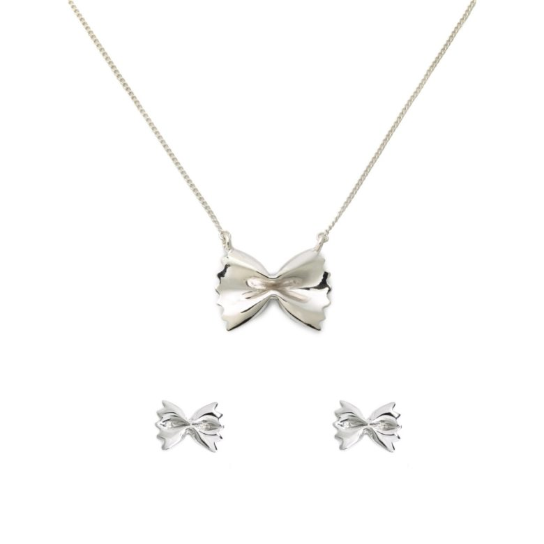 Farfalle Necklace and Earrings Set, Sterling Silver
