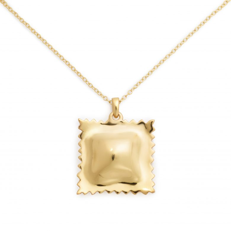 Ravioli Necklace, Yellow Gold Plated