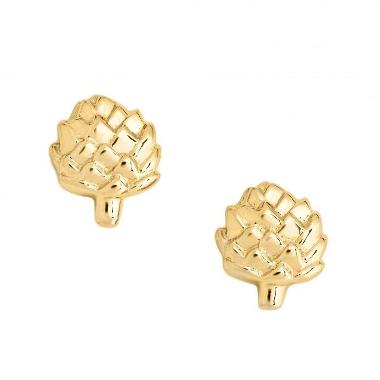 Artichoke Earrings, Yellow Plated Gold