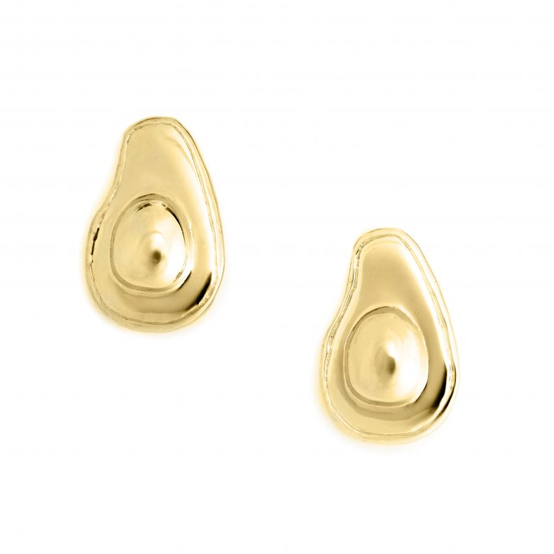 Avocado Halved Earrings, Yellow Gold Plated