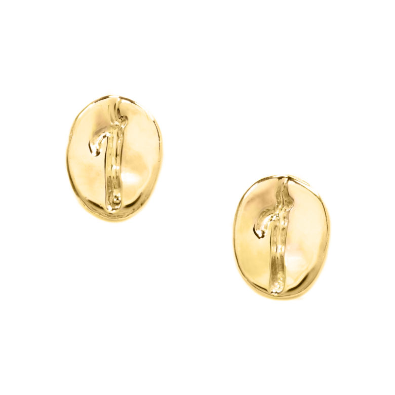 Coffee Bean Earrings, Yellow Gold Plated