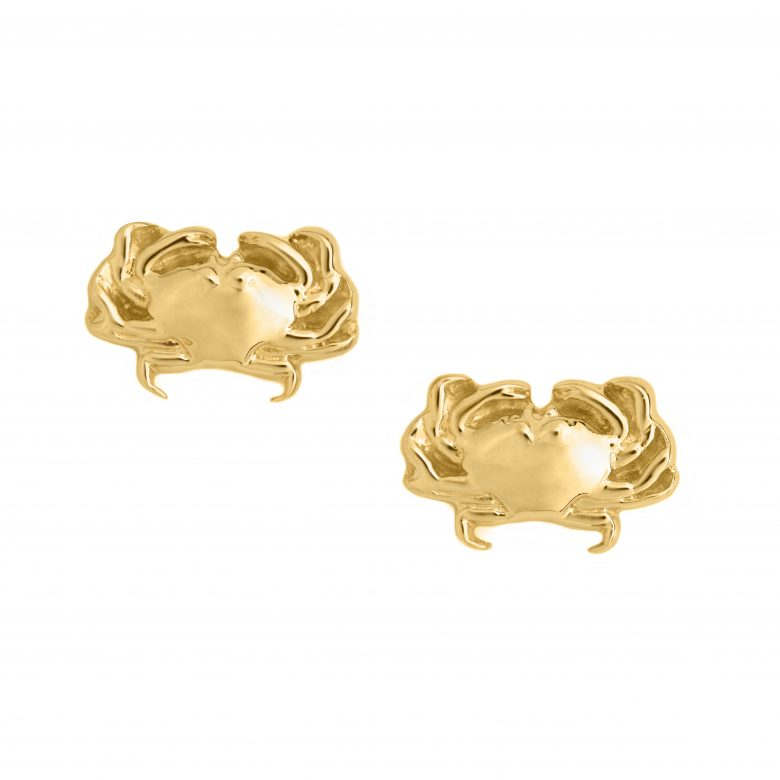 Crab Earrings, Yellow Gold Plated