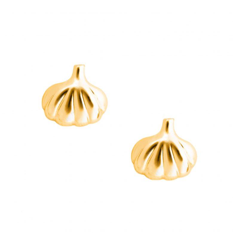 Garlic Earrings, Yellow Gold Plated