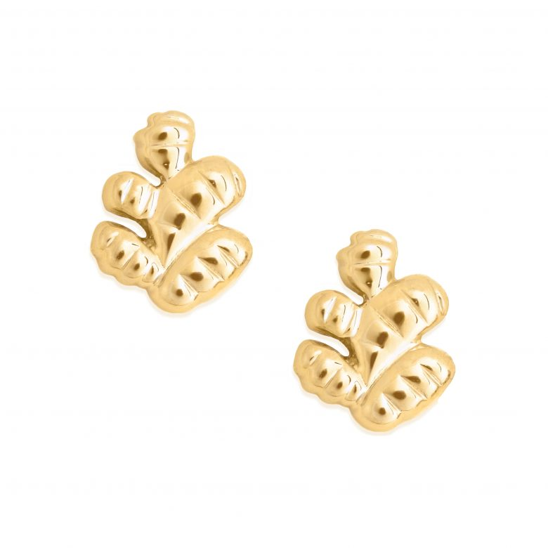 Ginger Earrings, Yellow Gold Plated