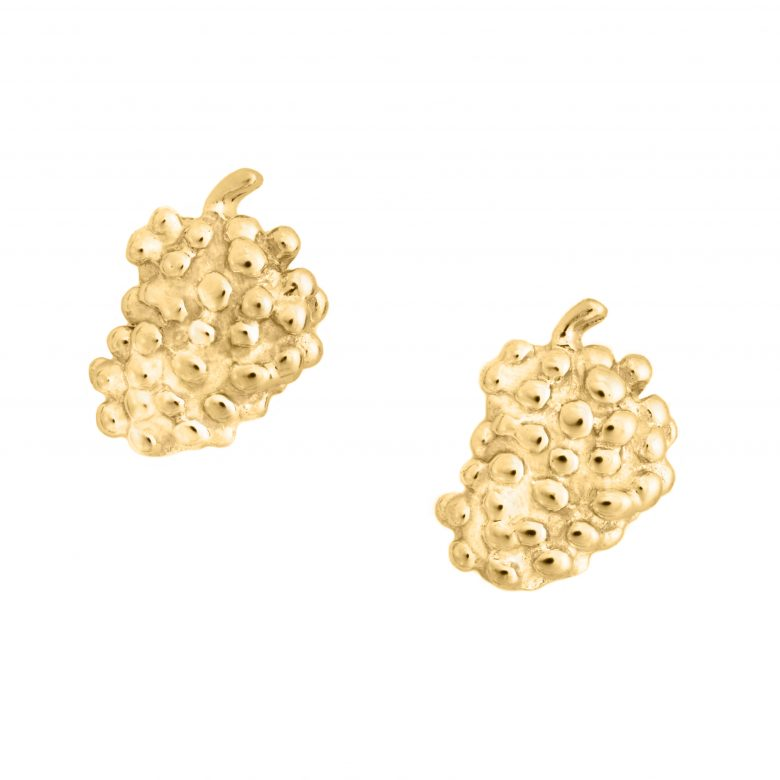 Grapes Earrings, Yellow Gold Plated