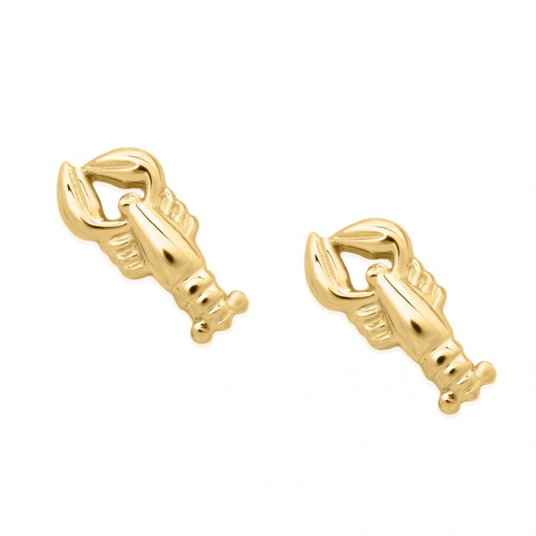 Lobster Earrings, Yellow Gold Plated