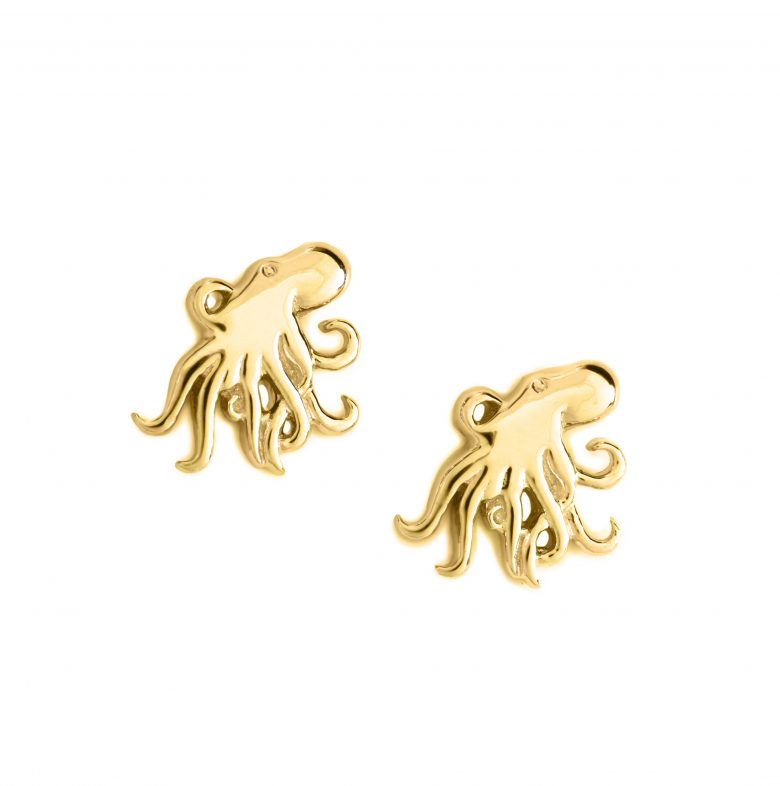 Octopus Earrings, Yellow Gold Plated