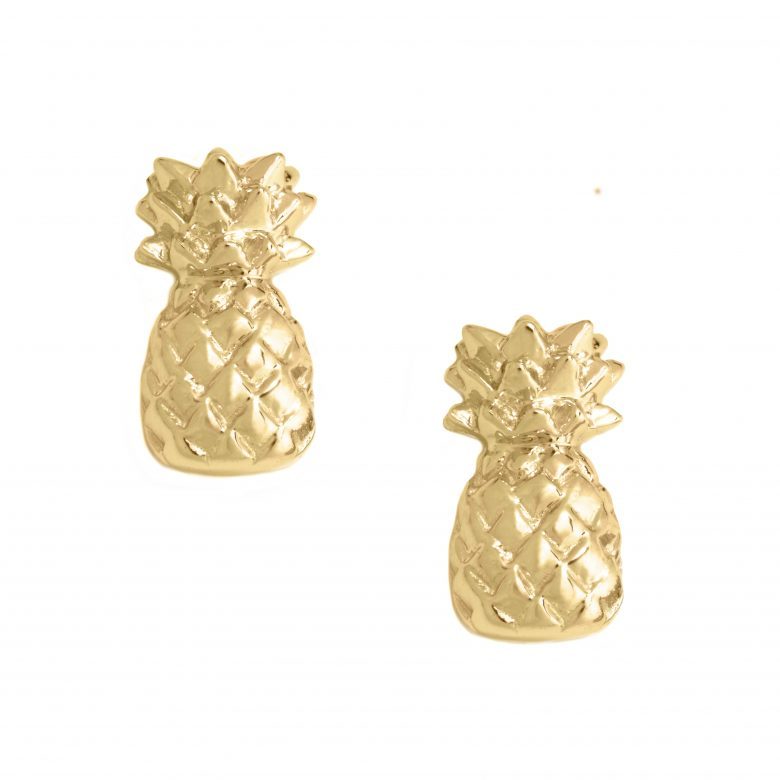 Pineapple Earrings, Yellow Gold Plated